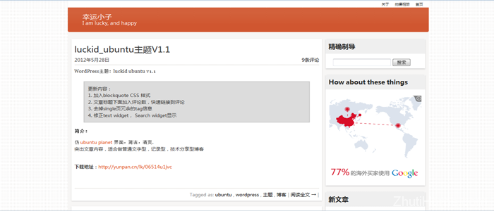 wordpress仿ubuntu风格主题图片展示